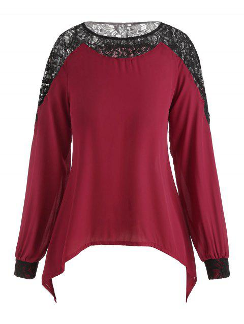 Lace Insert Plus Size Long Sleeve Blouse - RED WINE 5X