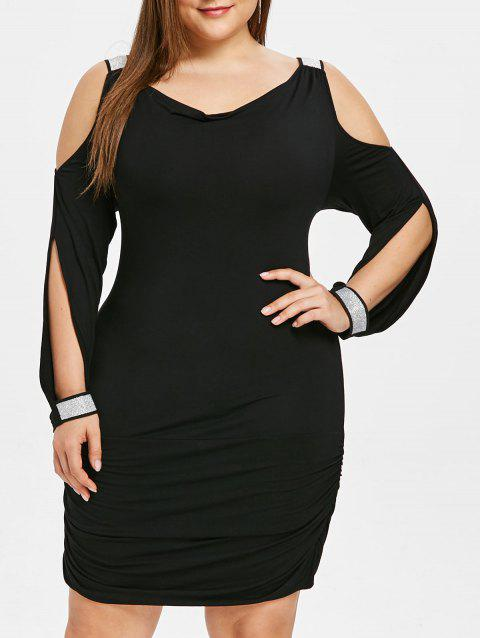 Plus Size Sequins Embellished Cold Shoulder Bodycon Dress - BLACK L