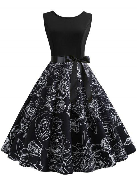 Sleeveless Belted Printed Vintage Dress - BLACK 2XL