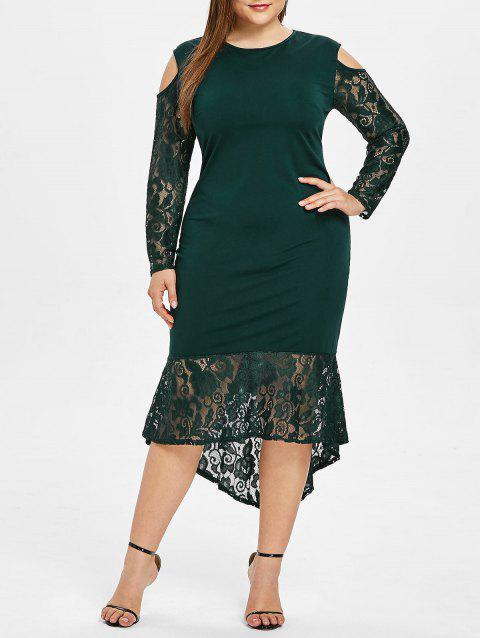 Plus Size Lace Ruffle Hem Round Neck Bodycon Dress - GREEN 5X