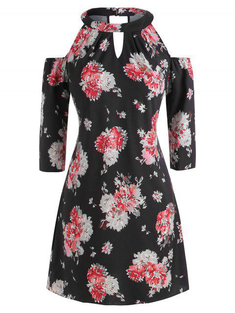 Floral Plus Size Open Shoulder Dress - BLACK 3X