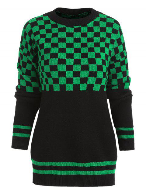 Drop Shoulder Checked Sweater - SHAMROCK GREEN ONE SIZE