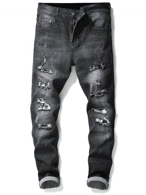 Ripped Hole Skull Patchwork Slimming Jeans - BLACK 38