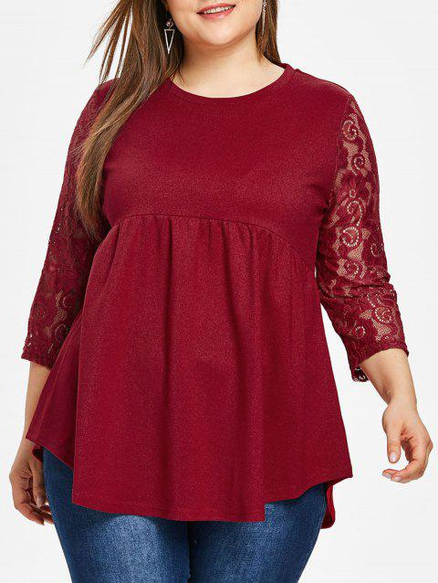 Plus Size Lace Sleeve Round Neck T-shirt - RED 2X