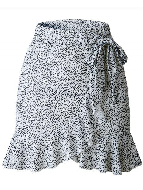 Flounced Bowknot Tie Mini Skirt - WHITE XL