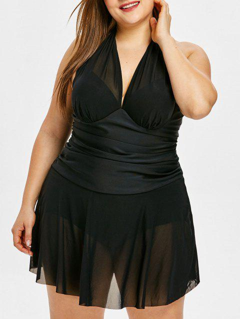 Plus Size Mesh Skirted One Piece Swimsuit - BLACK 1X