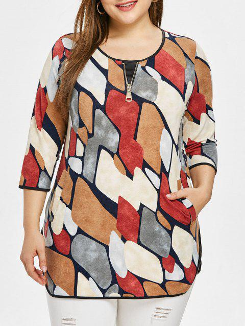 Half Sleeve Printed Zipper Plus Size Top - multicolor 3X