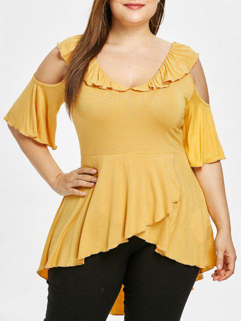 Plus Size Cut Out Ruffle T-shirt - YELLOW L