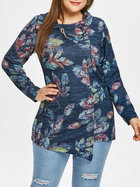 Plus Size Leaves Print Long Sleeve Top - SILK BLUE 2X