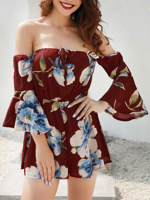 Flare Sleeve Floral Print Romper - multicolor A L