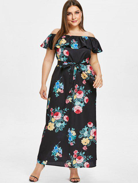 63% OFF] 2019 Plus Size Off Shoulder Flower Slit Maxi Dress In BLACK ...
