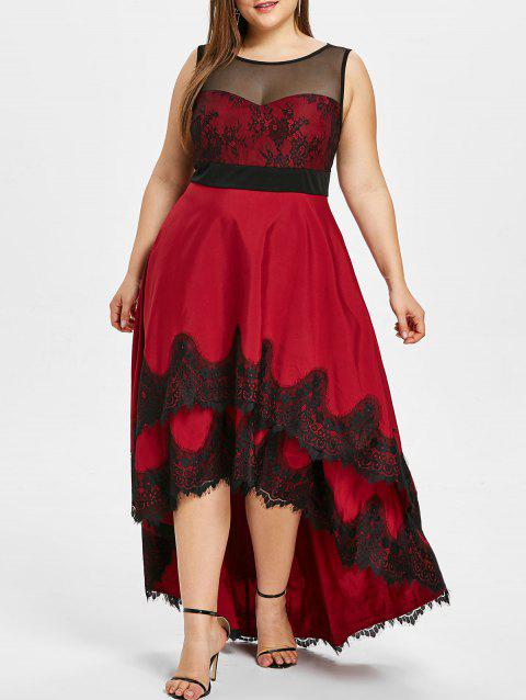 24c5e988349 17% OFF  2019 Plus Size Eyelash Lace Panel High Low Dress In RED ...