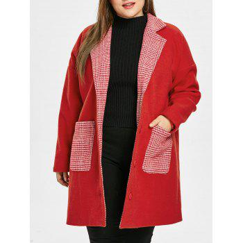 Plus Size Plaid Pockets Christmas Coat
