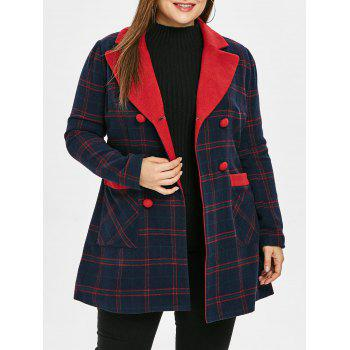 Plus Size Lapel Plaid Double Breast Coat