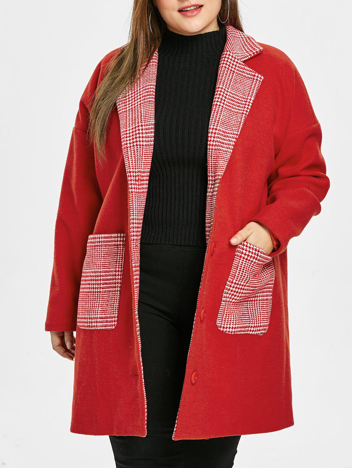 Plus Size Plaid Pockets Christmas Coat - RED 2X