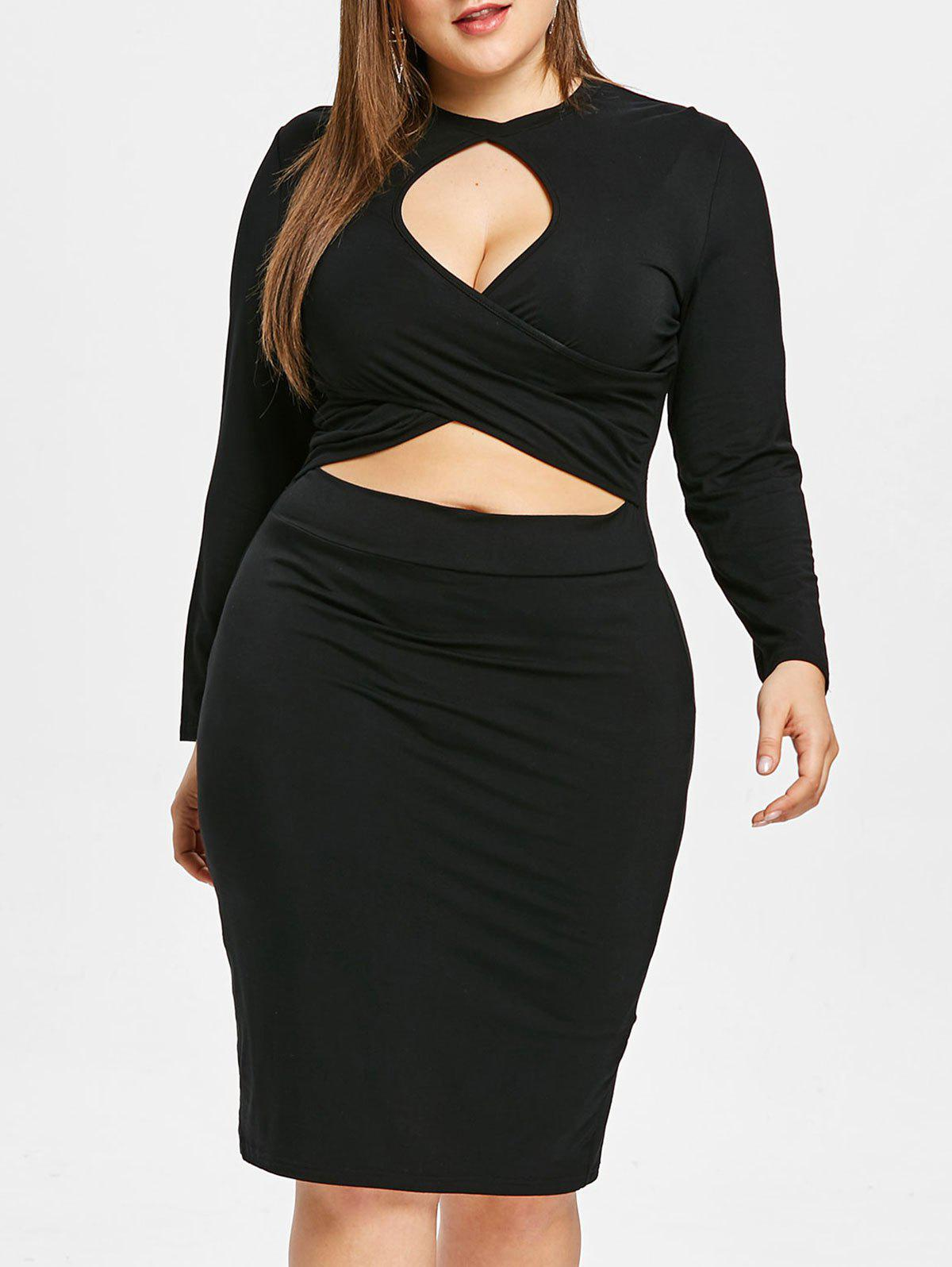 Plus Size Long Sleeve Keyhole Collar Crisscross Dress - BLACK 4X