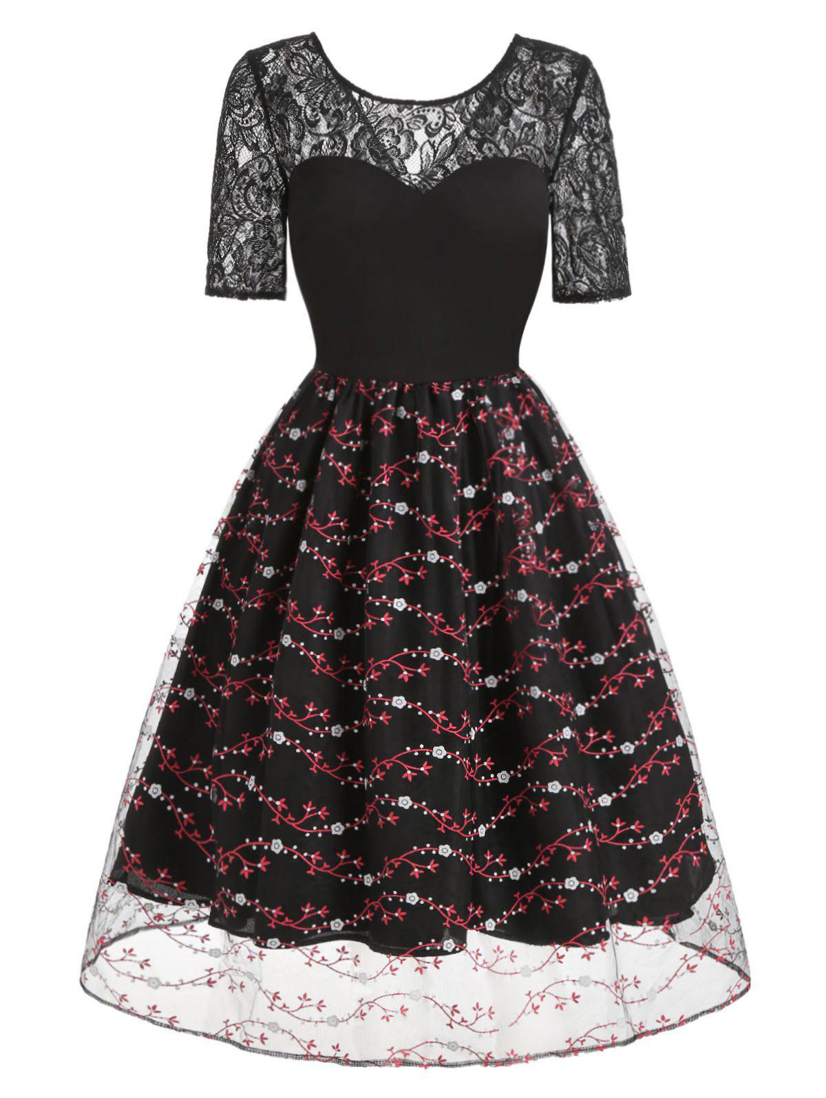 Lace Insert Floral Print Flare Rockabilly Style Vintage Dress - multicolor S