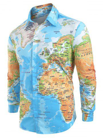 5a1e46f0252 World Map Print Hidden Button Shirt