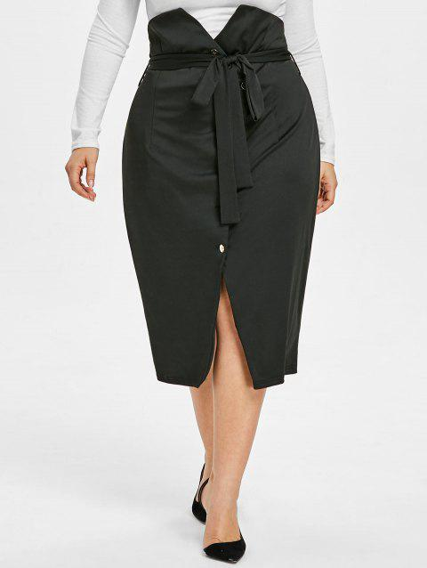 Buttoned Plus Size Belted Midi Skirt - BLACK 5X