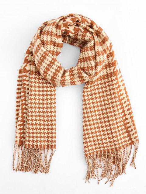 Houndstooth Style Winter Scarf - PAPAYA ORANGE