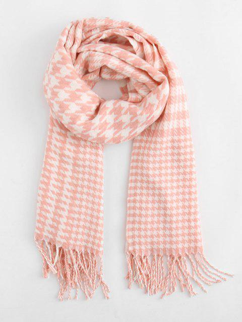 Houndstooth Style Winter Scarf - DEEP PEACH