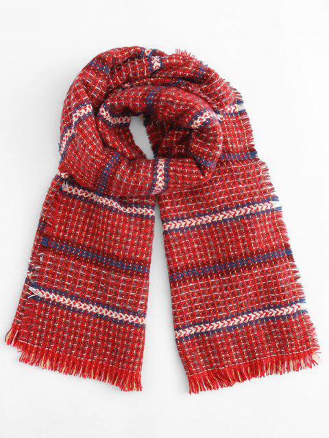 Fringed Decoration Plaid Scarf - RED