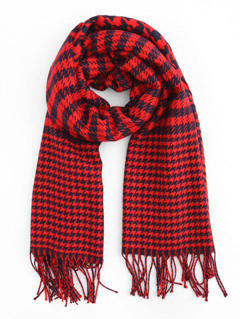 Houndstooth Style Winter Scarf - RED WINE
