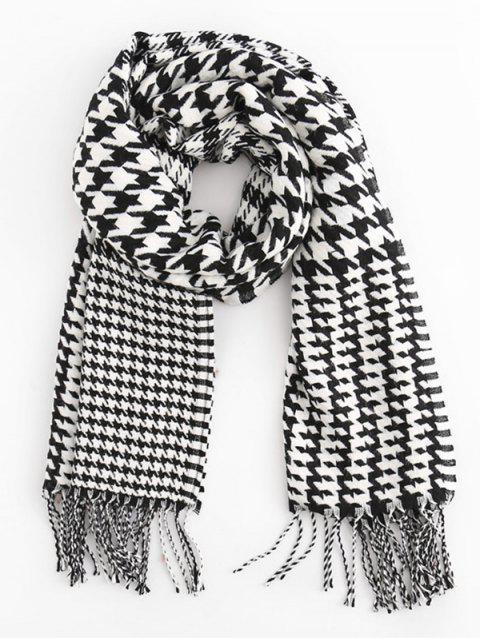 Houndstooth Style Winter Scarf - BLACK