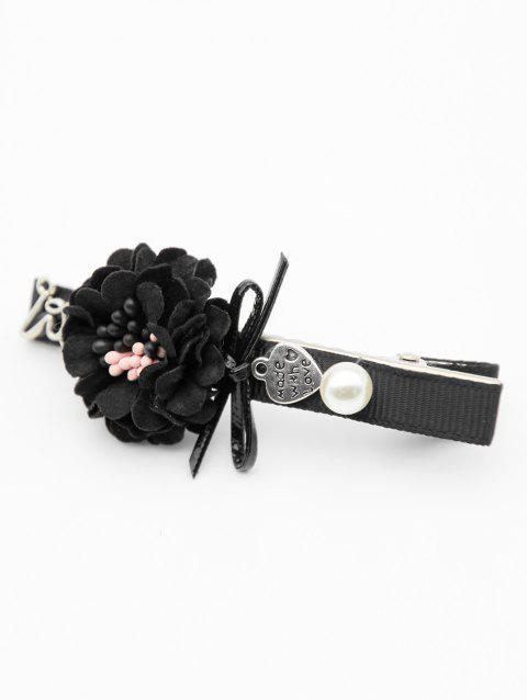 Faux Pearl Decoration Floral Hairpin - BLACK