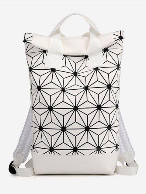 Geometric Floral Pattern Backpack - WHITE