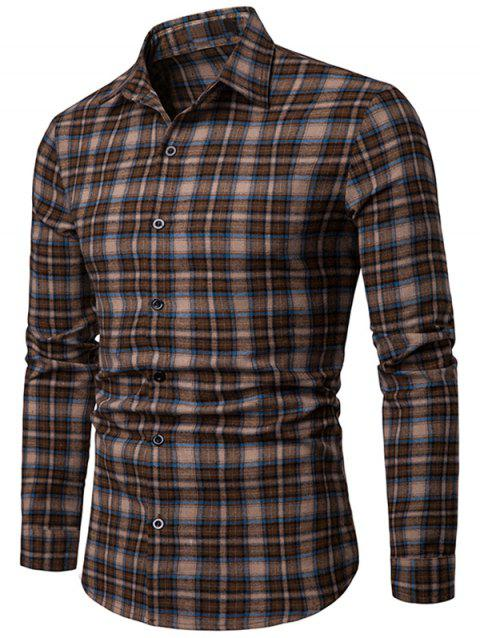Plaid Print Casual Button Up Shirt - BROWN L