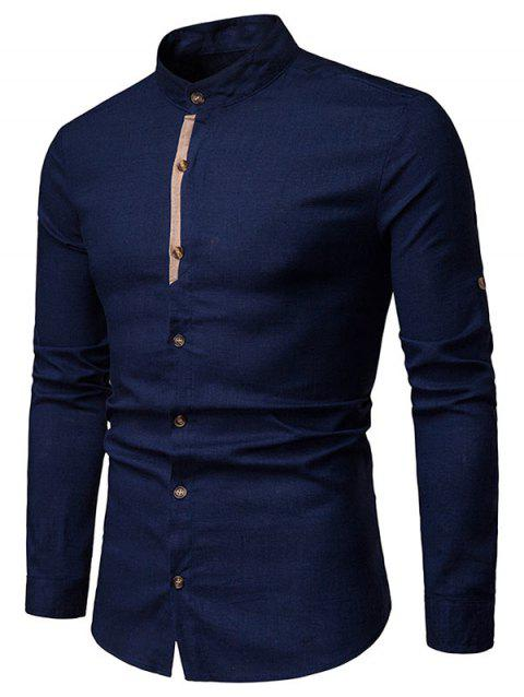 Contrast Placket Roll Up Long Sleeve Shirt - CADETBLUE L