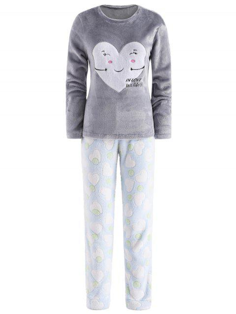 Fluffy Sleep Set Heart Top and Pants - multicolor S