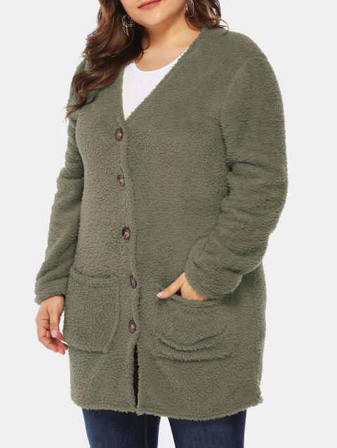 Plus Size Front Pockets Faux Fur Tunic Coat - ARMY GREEN 1X