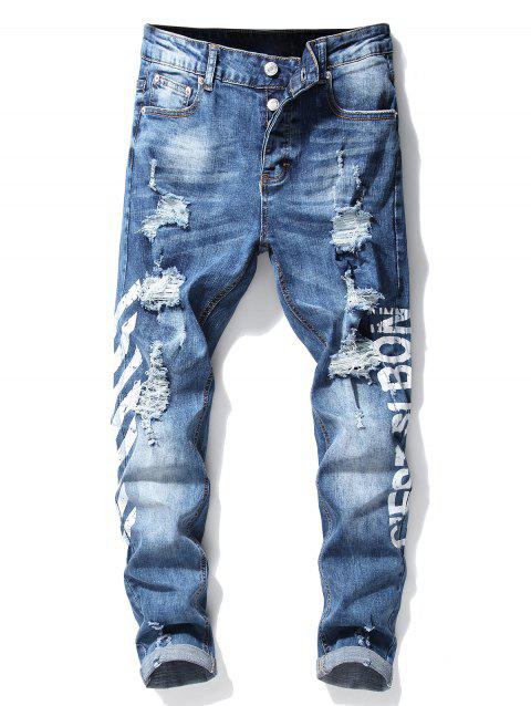 Button Fly Stripe Letter Ripped Slim Fit Jeans - WHITE 34