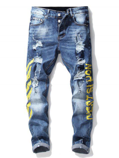 Button Fly Stripe Letter Ripped Slim Fit Jeans - YELLOW 32