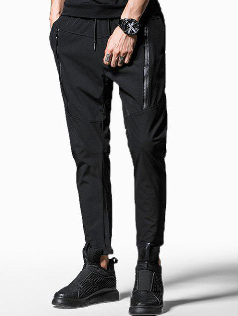 Zipper Embellished Drawstring Casual Pants - BLACK S