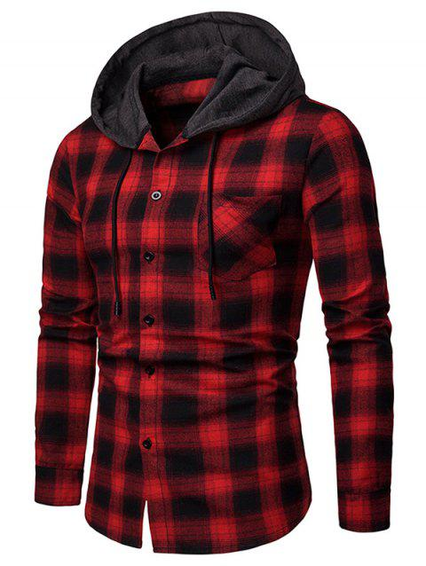 Chest Pocket Plaid Hood Patchwork Long Sleeve Shirt - RED M