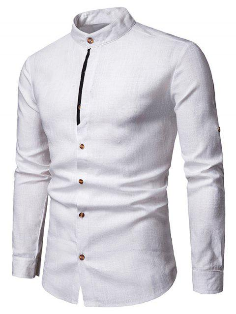 Contrast Placket Roll Up Long Sleeve Shirt - WHITE 2XL