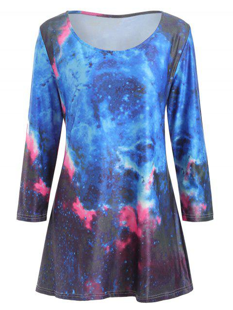 LIMITED OFFER] 2019 Plus Size Galaxy Print Round Neck T-shirt In ...