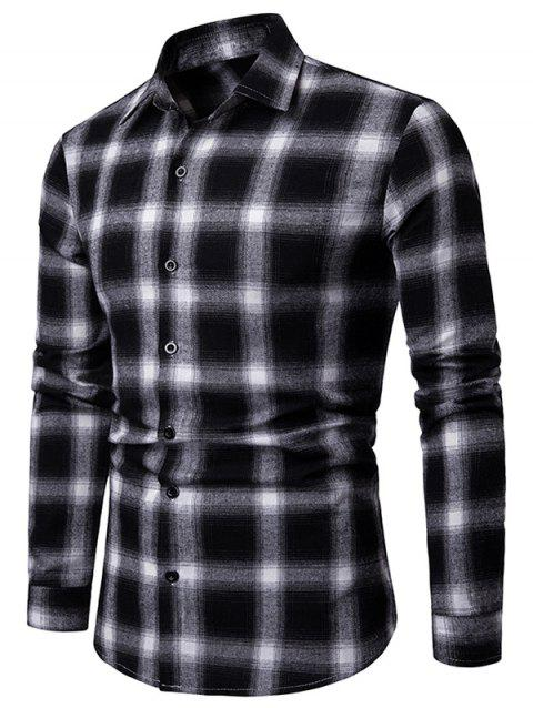 Tartan Print Long Sleeve Casual Shirt - BLACK 2XL