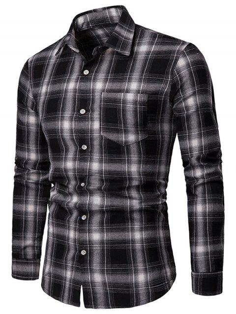 Long Sleeve Chest Pocket Tartan Print Shirt - BLACK 2XL