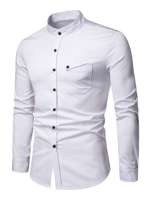 Stand Collar Chest Pocket Button Up Shirt - WHITE L