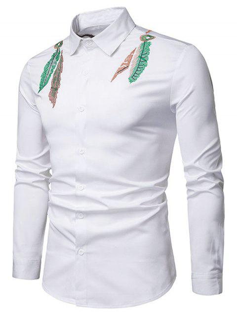 Feather Embroidered Button Up Casual Shirt - WHITE M