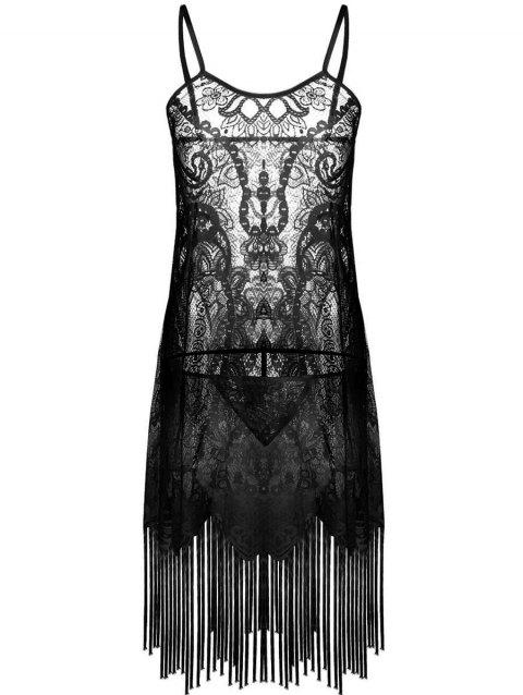 See Through Fringed Lace Dress - MIDNIGHT BLACK ONE SIZE