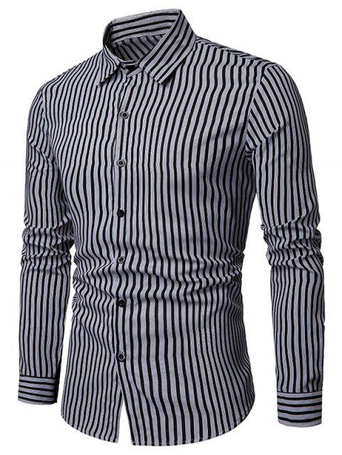 Stripe Print Hem Curved Long Sleeve Shirt - BLACK XL