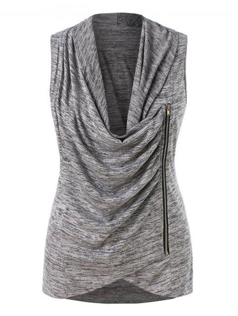 Plus Size Cowl Neck Ruched Marled Tank Top - DARK GRAY 1X