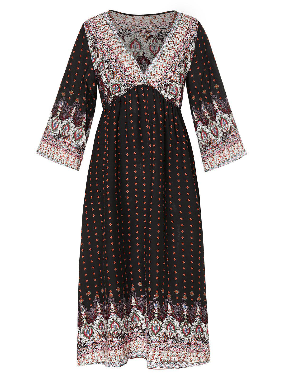 Tribal Print V Neck Bohemian Dress - BLACK M