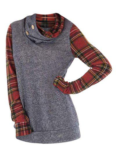 Plus Size Cowl Neck Plaid Sleeve Sweatshirt - GRAY 4X