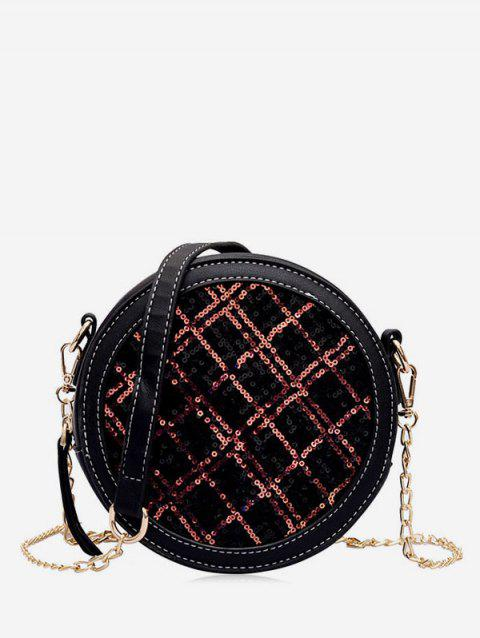 Grid Shiny Round Crossbody Bag - RED WINE